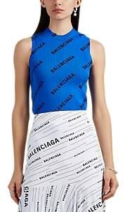 Balenciaga Women's Logo Rib-Knit Sleeveless Top - Blue