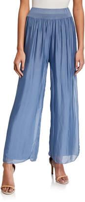 Moda Seta Pleated Sheer Overlay Soft Pants