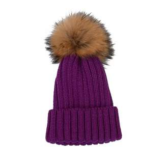 43b1db635d2 Vpang Winter Knitted Beanie Hat Soft Warm Wool Hat with Removable Faux Fur  Pom Pom