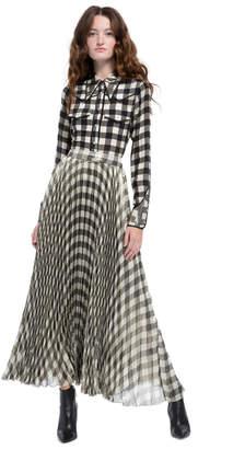 Alice + Olivia Katz Pleated Metallic Maxi Skirt