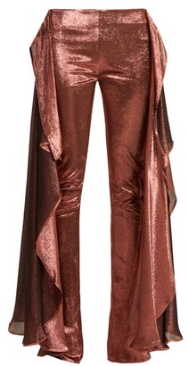 Paula Knorr - Relief High Rise Ruffled Silk Blend Lame Trousers - Womens - Gold