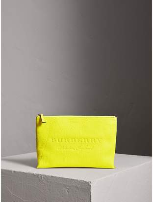 Burberry Large Embossed Leather Zip Pouch