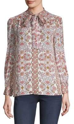 Tory Burch Kia Silk Bow Blouse