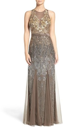 Women's Adrianna Papell Embellished Mesh Mermaid Gown $399 thestylecure.com