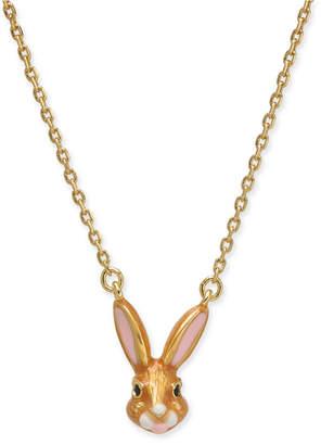 "Kate Spade Gold-Tone Enamel Bunny Pendant Necklace, 17"" + 3"" extender"