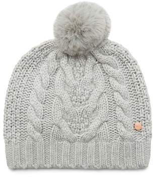 Ted Baker Quirsa Faux Fur Pom-Pom Cable-Knit Beanie