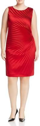 Marina Rinaldi Dulcinea Pleated Stretch Satin Dress