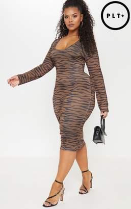 PrettyLittleThing Plus Brown Tiger Print Plunge Bodycon Dress