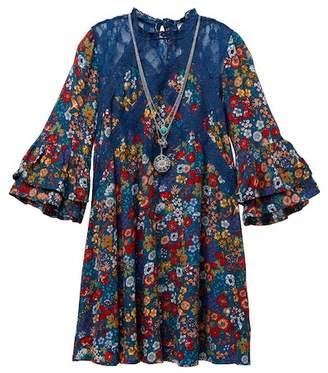 Beautees Lace Yoke Floral Dress & Necklace Set (Big Girls)