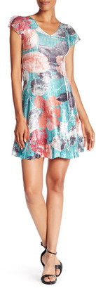 KOMAROV V-Neck Cap Sleeve Floral Printed Dress $278 thestylecure.com