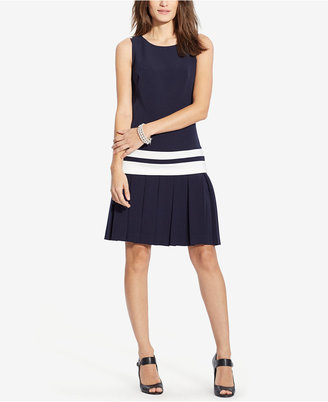 Lauren Ralph Lauren Pleated-Skirt Crepe Dress $160 thestylecure.com