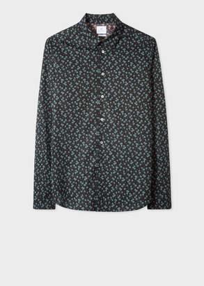 Paul Smith Men's Slim-Fit Black 'Palm Tree' Print Stretch-Cotton Shirt