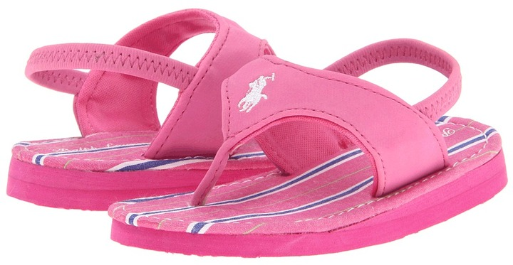 Ralph Lauren Terrence (Infant/Toddler) (Bright Blush Sportbuck/Pink & Navy Stripe/White Pony) - Footwear