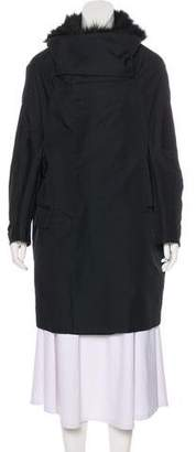 Toga Fox Fur-Trimmed Knee-Length Coat