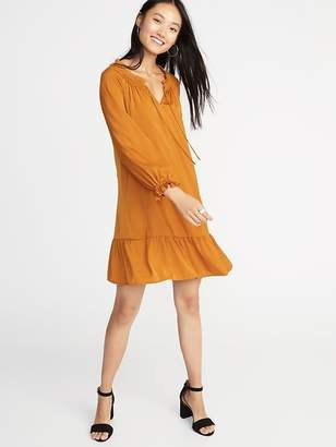 Old Navy Satin Poet-Sleeve Swing Dress for Women