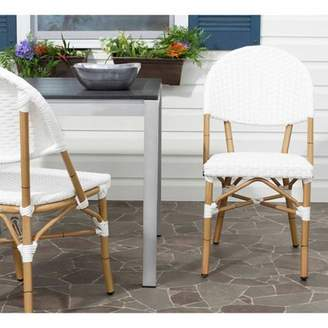 Safavieh Barrow Wicker Indoor-Outdoor Stacking Side Chair, Off White, Set of 2