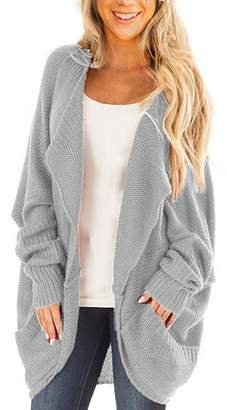 e3eb27c2a3 BeneGreat Womens Dolman Sleeve Causal Sweater Open Front Cozy Knit Cardigan  Tops M