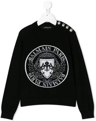 Balmain Kids intarsia logo sweater
