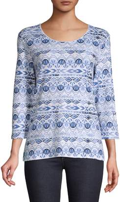 Karen Scott Three-Quarter-Sleeve Printed T-Shirt
