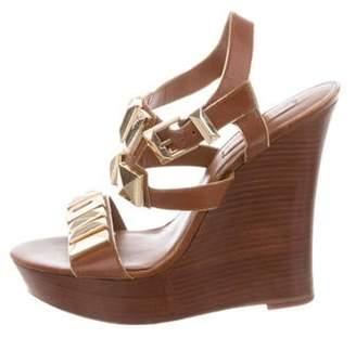 Michael Kors Embellished Platform Wedge Sandals Brown Embellished Platform Wedge Sandals