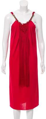 Alberta Ferretti Fringe-Trimmed Midi Dress w/ Tags