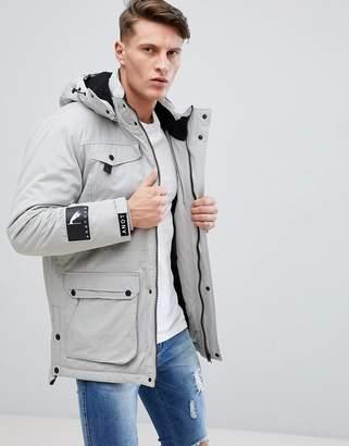 Bershka Parka Jacket In Light Gray