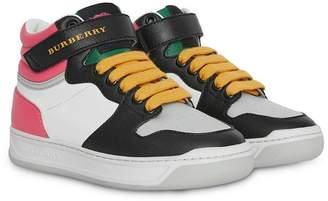 Burberry Colour Block Leather High-top Sneakers