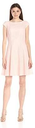 Lark & Ro Women's Cap Sleeve Eyelet Fit and Flare Dress