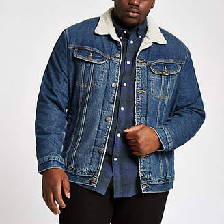 River Island Lee Big and Tall blue fleece denim jacket