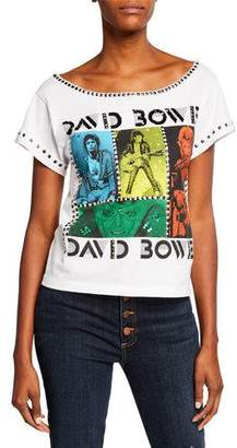Alice + Olivia JEANS Mikey David Bowie Embellished Wide-Neck Tee with Studs