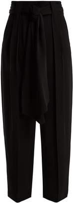 Valentino High-rise tie-waist silk-georgette trousers