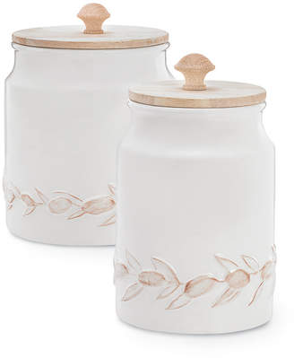 Martha Stewart Collection Collection Dolce Vita Textured Canisters, Set of 2, Created for Macy's & Reviews - Cleaning & Organization - Home - Macy's