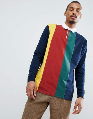 Asos Design Relaxed Rugby Polo Shirt With Vertical Colour Block In Navy