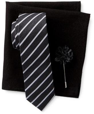 Original Penguin Thistle Stripe Tie, Pocket Square, & Lapel Stick Pin Set $79 thestylecure.com