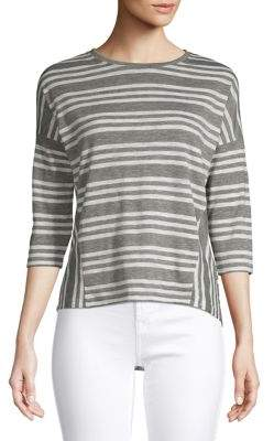 Lord & Taylor Petite Striped Cotton Blend Top