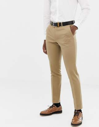 Asos DESIGN skinny suit PANTS in camel micro texture