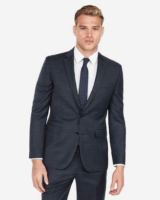 Express Slim Windowpane Plaid Wool-Blend Suit Jacket