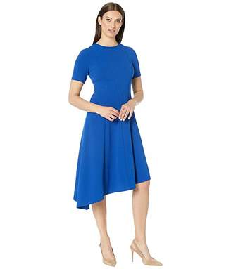 Donna Morgan Short Sleeve Asymmetric Hem Fit and Flare Crepe Dress