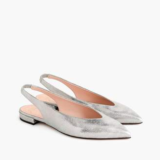 J.Crew Pointed-toe slingback flats in metallic cracked-leather