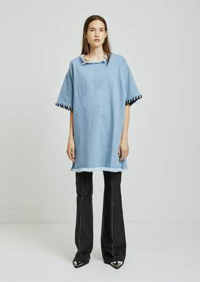 Marques Almeida Marques ' Almeida Oversized Denim T-Shirt With Lacing