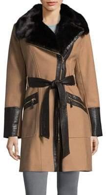 Via Spiga Belted Faux Fur Coat