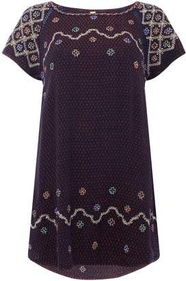 Free People Short Sleeve In The Clouds Embroidered Tunic