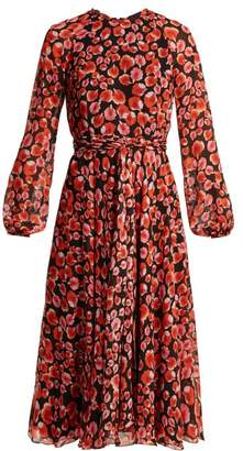 Giambattista Valli Petal Print Silk Georgette Dress - Womens - Black Multi