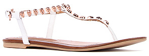 Jeffrey Campbell The Calavera Skull Sandal in White and Rosegold