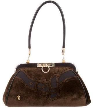 Roberta Di Camerino Leather-Trimmed Velvet Handle Bag