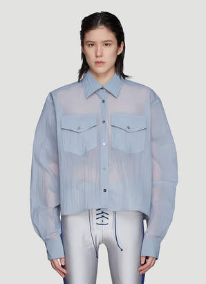 Unravel Project Crinkled Workwear Shirt in Blue