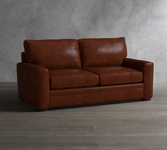 Pottery Barn Pearce Square Arm Leather Sleeper Sofa with Memory Foam Mattress