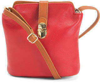 Made In Italy Leather Buckle Crossbody