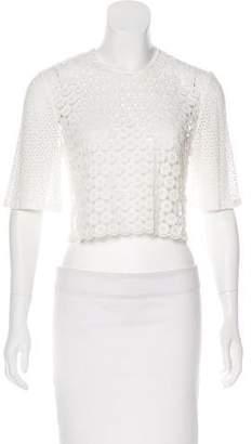 A.L.C. Lace Short Sleeve Crop Top