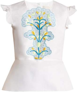 Peter Pilotto - Cotton And Guipure Lace Top - Womens - White Multi